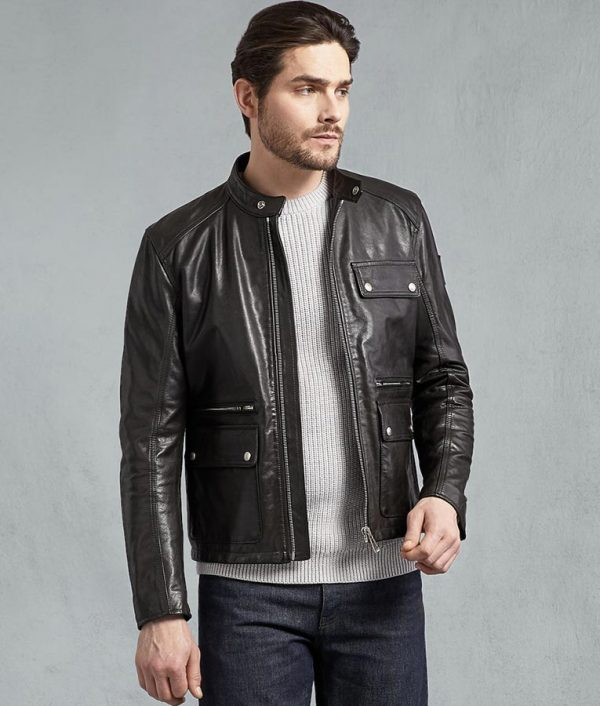 Garnett Mens Black Hand Waxed Café Racer Jacket