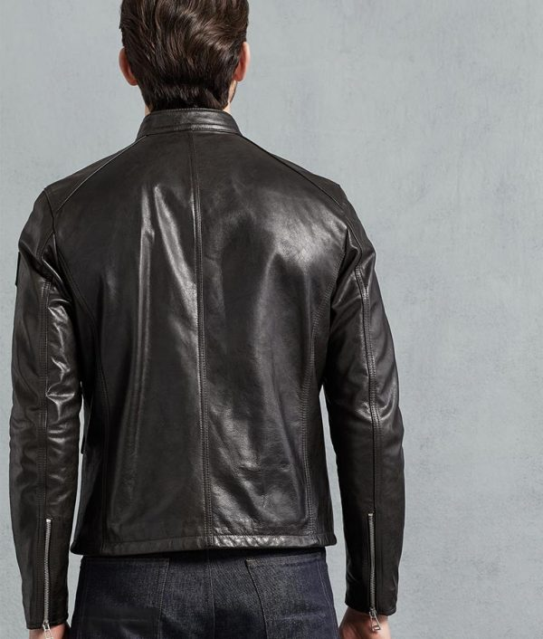 Garnett Mens Black Hand Waxed Café Racer Leather Jacket