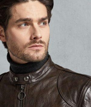 Gomez Mens Brown Leather Jacket