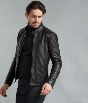 Hernandez Mens Black Leather Jacket