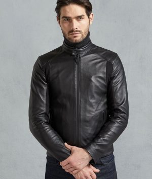 Hernandez Mens Black Signature Leather Jacket