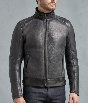 Mens Shearling Suede Quilted Shoulders Leather Moto Jacket