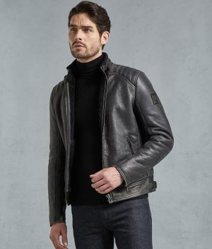 Hollis Mens Shearling Suede Quilted Shoulders Moto Jacket