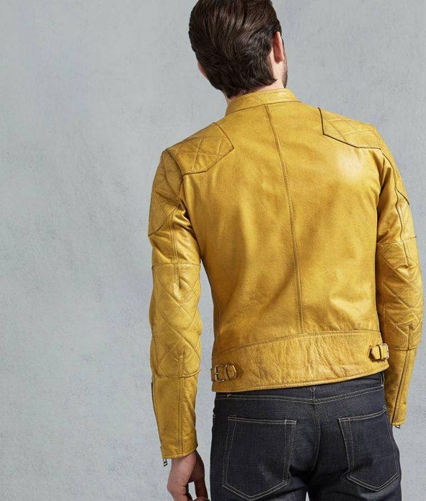 Jamie Mens Yellow Café Racer Leather Jacket
