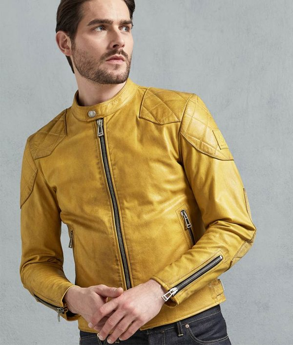 Jamie Mens Padded Shoulder Yellow Café Racer Leather Jacket