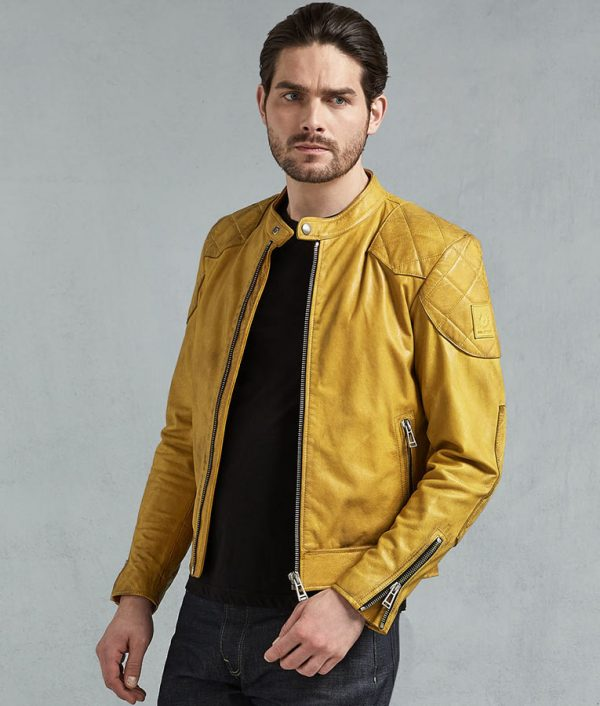 Jamie Mens Padded Shoulder Yellow Leather Jacket