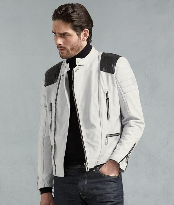 Mens Antique Ice Leather Biker Hand Waxed Jacket