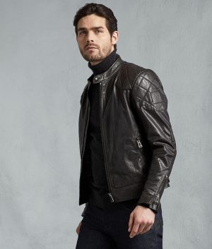 John Mens Café Racer Hand Waxed Black Jacket
