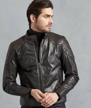 John Mens Café Racer Hand Waxed Black Leather Jacket