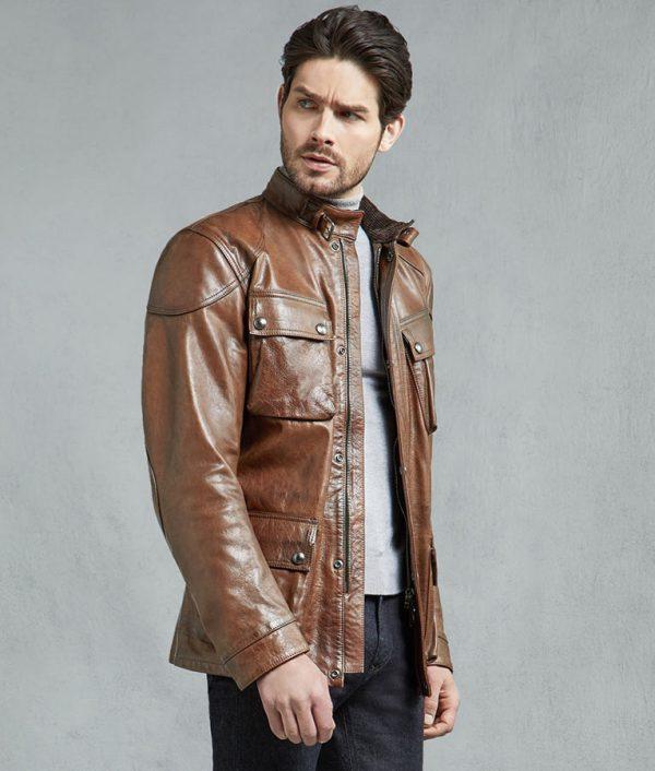Mens Burnt Cuero Hand Waxed Slimfit Leather Jacket