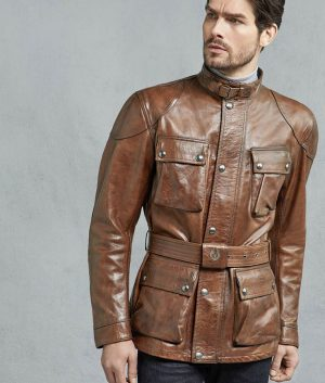 Jonathan Mens Burnt Cuero Hand Waxed Slimfit Leather Jacket
