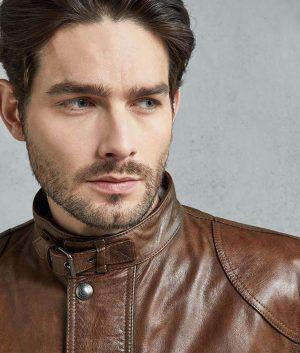 Jonathan Mens Burnt Cuero Leather Jacket