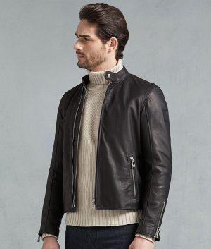 Joshua Mens Slimfit Café Racer Leather Jacket