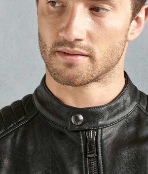 Kimberly Mens Black Cafe Racer Leather Jacket