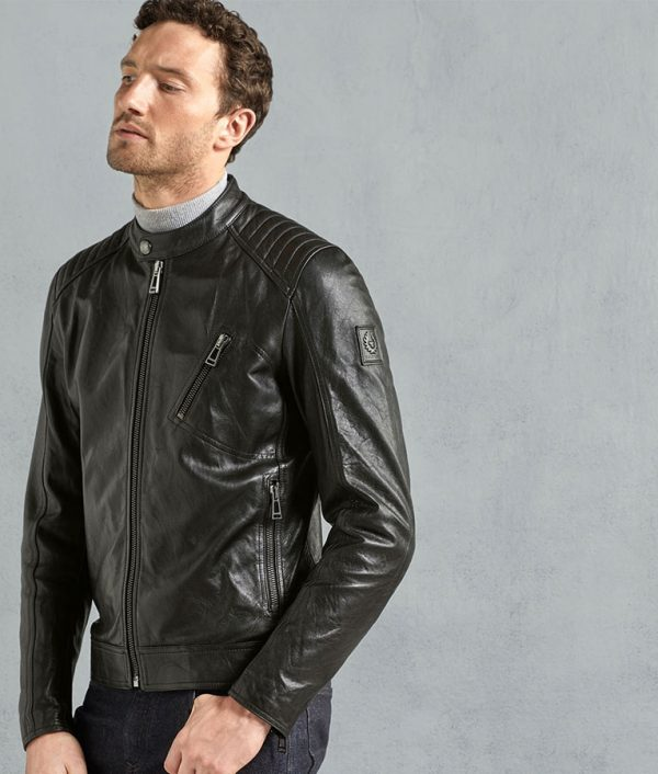 Kimberly Mens Black Cafe Racer Padded Shoulder Leather Jacket