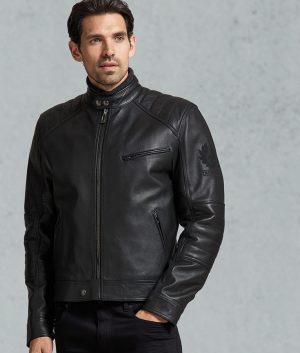 Mens Slimfit Black Calfskin Café Racer Leather Jacket