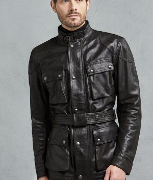 Crissman Mens Antique Black Leather Jacket