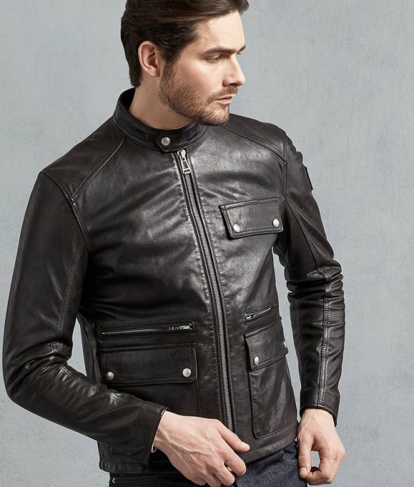 Garnett Mens Black Hand Waxed Leather Jacket