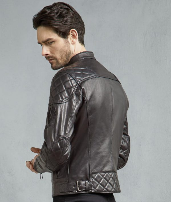 Earl Mens Black Slimfit Biker Leather Jacket