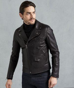 Richard Mens Black Slimfit Motorcycle Leather Jacket