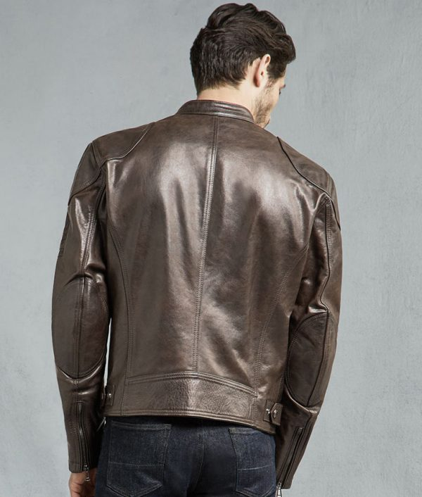 Burgan Mens Brown And Black Motorcycle Jacket