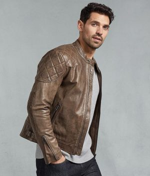 Alfaro Mens Slimfit Café Racer Bronze Oak Leather Jacket