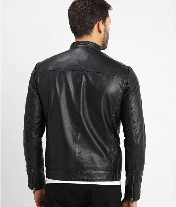 Carlo Mens V RacerMandarin Collar Leather Jacket