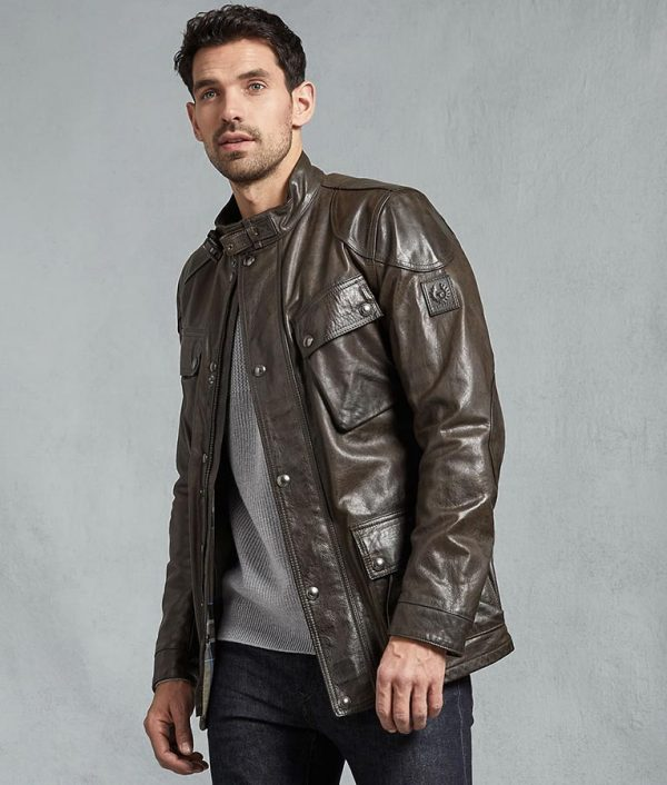 Neil Mens Brown Slimfit Leather Jacket