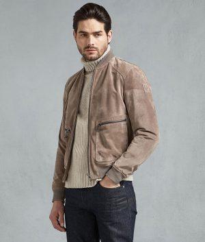 Nichols Mens Driftwood Slimfit Leather Jacket