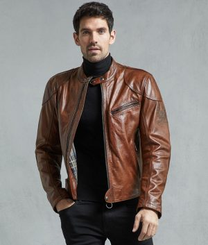 Phillips Mens Brown Café Racer Leather Jacket
