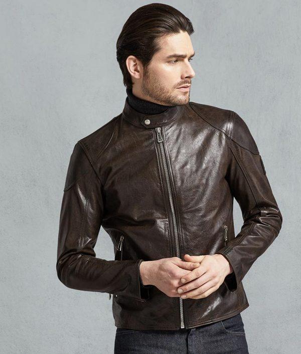 Teresa Mens Slimfit Black Hand Waxed Café Racer Leather Jacket