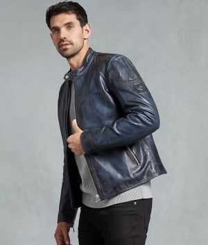 Mens Café Racer Lagoon Hand Waxed Leather Jacket