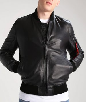 Adam Mens Collar Bomber Black Leather Jacket