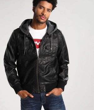 Adam Mens Hooded Bomber Black Jacket