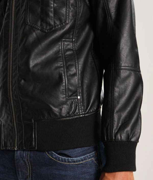 Adam Mens Hooded Bomber Black Leather Jacket