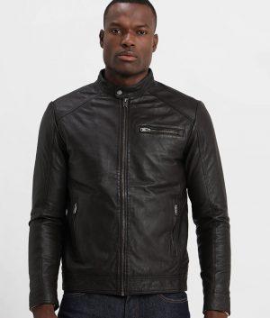 Alexan der Mens Classic Black Slimfit Cafe Racer Leather Jacket