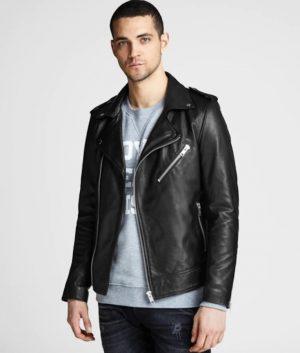 Alexis Mens Lapel Collar Black Leather Jacket