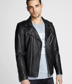 Alexis Mens Lapel Collar Black Motorcycle Leather Jacket