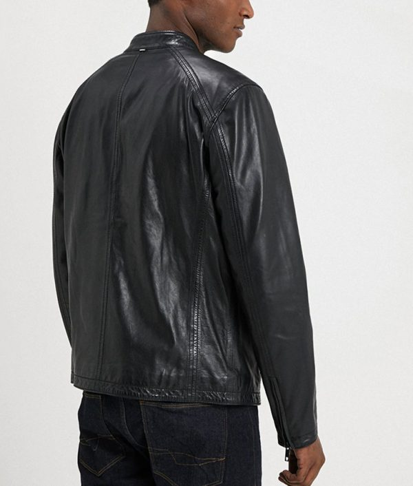 Mens Mandarin Collar Casual Black Cafe Racer Leather Jacket