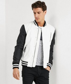 Allen Mens White And Black Bomber Leather Jacket