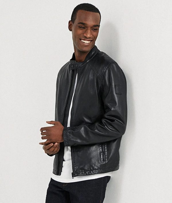 Allen Mens Casual Black Cafe Racer Leather Jacket