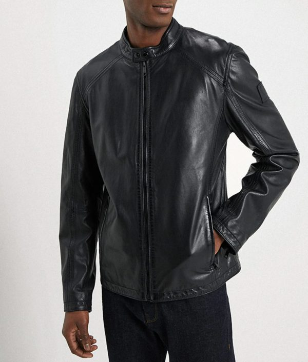 Allen Mens Mandarin Collar Cafe Racer Leather Jacket