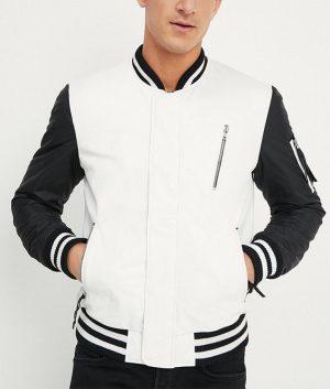 Allen Mens Mandarin Collar Bomber Leather Jacket