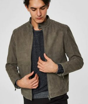 Allis Mens Distressed Grey Mandarin Collar Café Racer Jacket