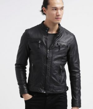 Anthony Mens Distressed Black Café Racer Jacket