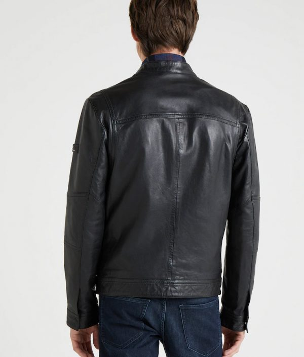 Arturo Mens Mandarin Collar Slimfit Black Café Racer Leather Jacket