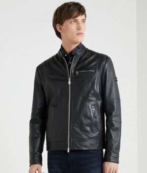 Mens Mandarin Collar Slimfit Black Café Racer Leather Jacket