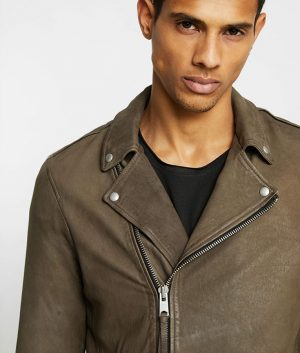 Austin Mens Lapel Collar Biker Distressed Leather Jacket