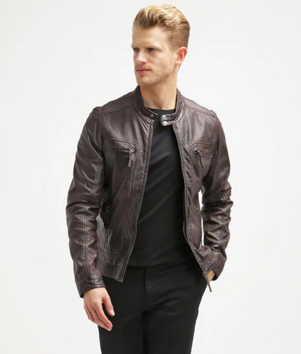 Azevedo Mens Dark Brown Leather Jacket
