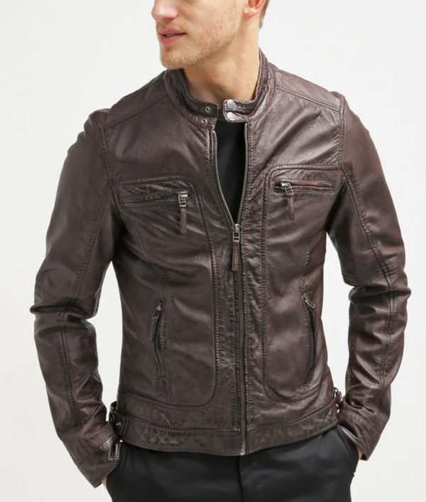 Azevedo Mens Dark Brown Stand Collar Jacket
